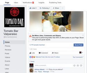 Tomato Bar Valparaiso Facebook Post